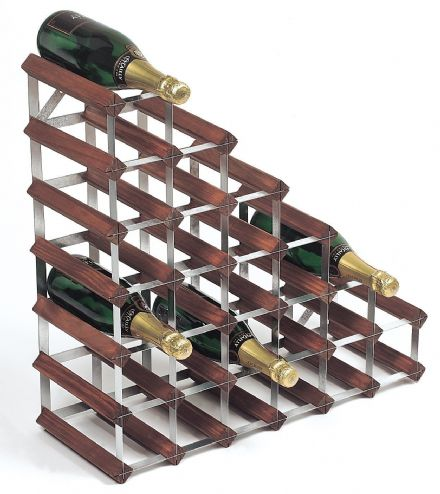 RTA 27 Bottle Under Stairs Wine Rack Assembled Stained Pine